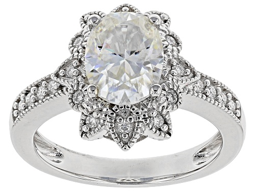 Photo of MOISSANITE FIRE® 2.42CTW DIAMOND EQUIVALENT WEIGHT OVAL AND ROUND PLATINEVE™ RING - Size 6
