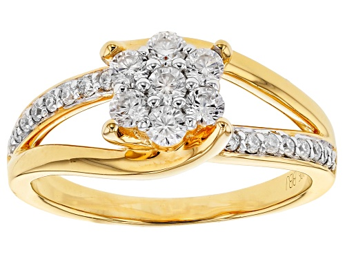 Photo of MOISSANITE FIRE® .58CTW DEW ROUND 14K YELLOW GOLD OVER STERLING SILVER RING - Size 7