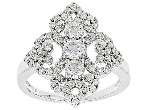 Photo of MOISSANITE FIRE® 1.15CTW DIAMOND EQUIVALENT WEIGHT ROUND PLATINEVE™ RING - Size 7