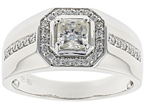 Photo of MOISSANITE FIRE® .97CTW DEW SQUARE RADIANT CUT AND ROUND PLATINEVE™ MENS  RING - Size 10