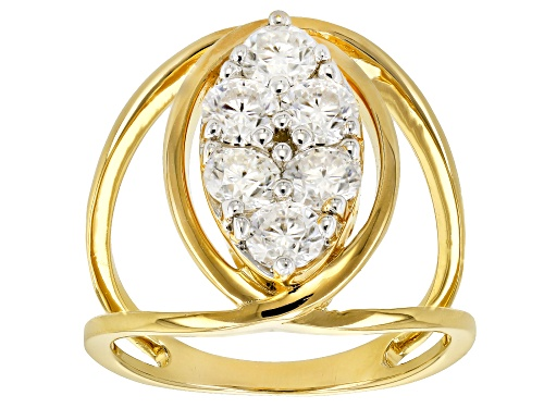 Photo of MOISSANITE FIRE® 1.38CTW DEW ROUND 14K YELLOW GOLD OVER SILVER RING - Size 6