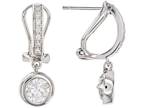 Photo of MOISSANITE FIRE® 2.14CTW DEW ROUND PLATINEVE™  EARRINGS