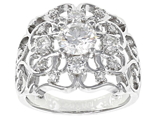 Photo of MOISSANITE FIRE® 1.56CTW DIAMOND EQUIVALENT WEIGHT ROUND PLATINEVE™ RING - Size 6