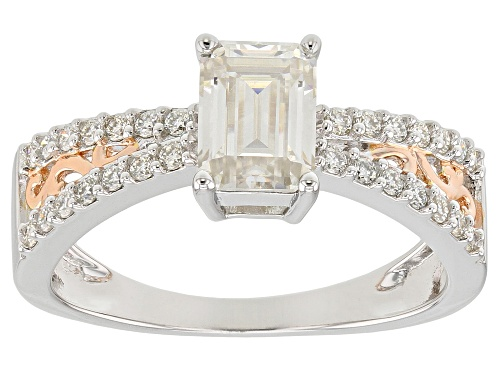 Photo of MOISSANITE FIRE® 1.29CTW DEW PLATINEVE™ WITH 14K ROSE GOLD OVER PLATINEVE RING - Size 6