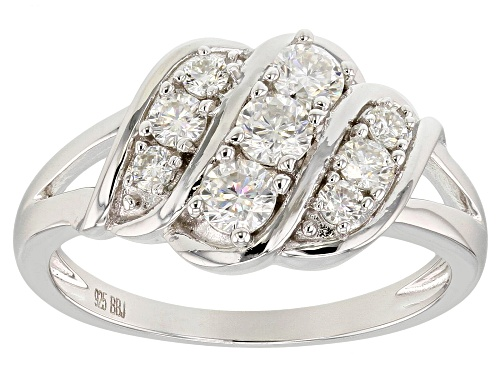 Photo of MOISSANITE FIRE® .63CTW DIAMOND EQUIVALENT WEIGHT ROUND PLATINEVE® RING - Size 6