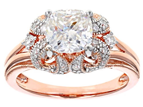 Photo of MOISSANITE FIRE® 2.00CTW DEW CUSHION CUT AND ROUND 14K ROSE GOLD OVER SILVER RING - Size 11