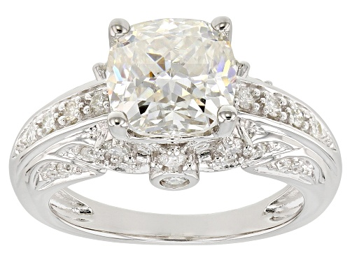 Photo of MOISSANITE FIRE® 3.24CTW DEW CUSHION CUT AND ROUND PLATINEVE™ RING - Size 5