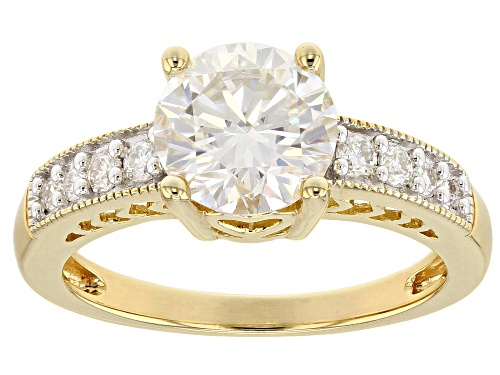 MOISSANITE FIRE® 2.10CTW DEW ROUND 14K YELLOW GOLD OVER SILVER RING - Size 11