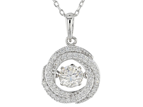 Photo of MOISSANITE FIRE® 1.37CTW DEW ROUND PLATINEVE™ DANCING PENDANT WITH CHAIN