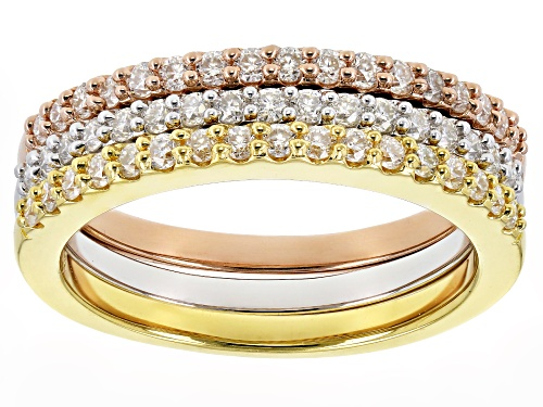 Photo of MOISSANITE FIRE® 1.02CTW DEW PLATINEVE™ AND 14K ROSE AND YELLOW GOLD OVER SILVER RING SET OF THREE - Size 7