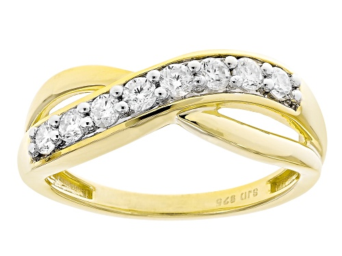 Photo of MOISSANITE FIRE® .40CTW DEW ROUND 14K YELLOW GOLD OVER STERLING SILVER RING - Size 11