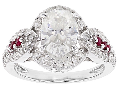 Photo of MOISSANITE FIRE® 2.98CTW DEW AND .23CTW RUBY PLATINEVE™ RING - Size 10
