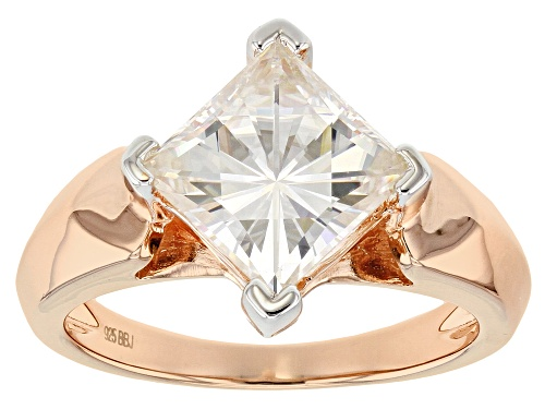 Photo of MOISSANITE FIRE® 3.10CT DEW SQUARE BRILLIANT 14K ROSE GOLD OVER STERLING SILVER RING - Size 8
