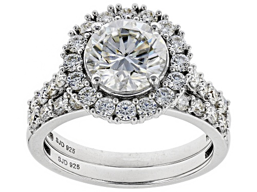 Photo of MOISSANITE FIRE® 2.98CTW DEW ROUND PLATINEVE™ RING WITH BAND - Size 10