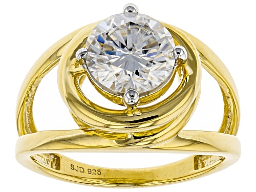 Photo of MOISSANITE FIRE® 1.90CT DEW ROUND 14K YELLOW GOLD OVER STERLING SILVER RING - Size 8