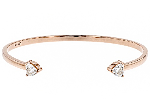 Photo of MOISSANITE FIRE® 1.60CTW DEW HEART SHAPE 14K ROSE GOLD OVER STERLING SILVER BANGLE BRACELET