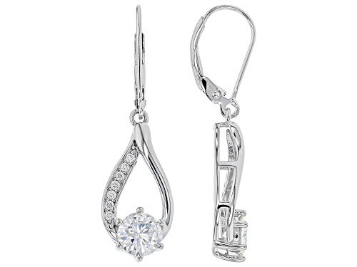 Photo of MOISSANITE FIRE® 1.74CTW DEW ROUND PLATINEVE™ EARRINGS
