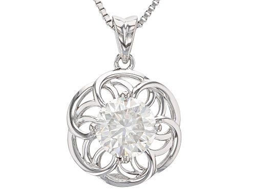Photo of MOISSANITE FIRE® 1.50CT DEW ROUND PLATINEVE™ PENDANT WITH CHAIN