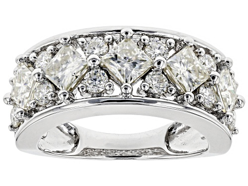 Photo of MOISSANITE FIRE® 2.77CTW DEW SQUARE BRILLIANT AND ROUND PLATINEVE® RING - Size 8