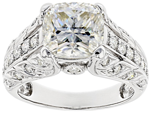 Photo of MOISSANITE FIRE® 3.78CTW DEW CUSHION CUT AND ROUND PLATINEVE™ RING - Size 11