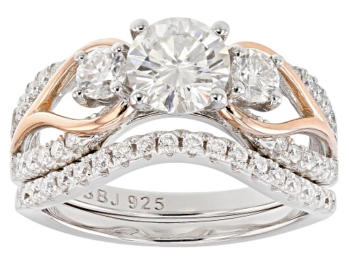 Photo of MOISSANITE FIRE(R) 1.78CTW DEW PLATINEVE(TM) AND 14K ROSE GOLD OVER PLATINEVE RING WITH BAND - Size 10