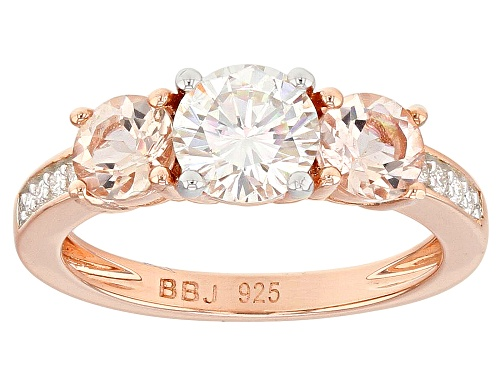 Photo of MOISSANITE FIRE® 1.08CTW DEW .82CTW MORGANITE 14K ROSE GOLD OVER SILVER RING - Size 7