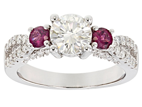 Photo of MOISSANITE FIRE® 1.38CTW DEW ROUND AND  .42CTW ROUND RHODOLITE PLATINEVE™ RING - Size 8