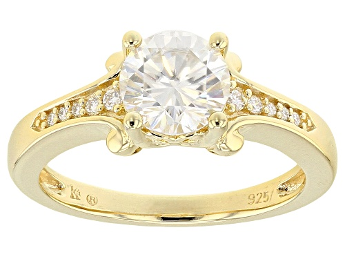 Photo of MOISSANITE FIRE® 1.32CTW DEW ROUND 14K YELLOW GOLD OVER STERLING SILVER RINGS - Size 6