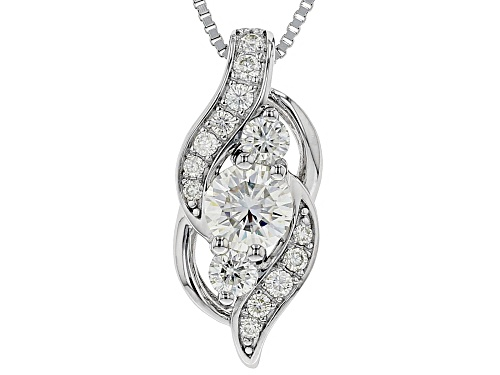 Photo of MOISSANITE FIRE® 1.00CTW DEW ROUND PLATINEVE® PENDANT WITH BOX CHAIN