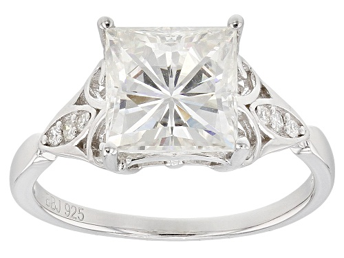 Photo of MOISSANITE FIRE® 3.16CTW DEW SQUARE BRILLIANT AND ROUND PLATINEVE® RING - Size 8