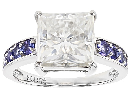 Photo of MOISSANITE FIRE® 4.30CT DEW AND .56CTW TANZANITE PLATINEVE® RING - Size 10