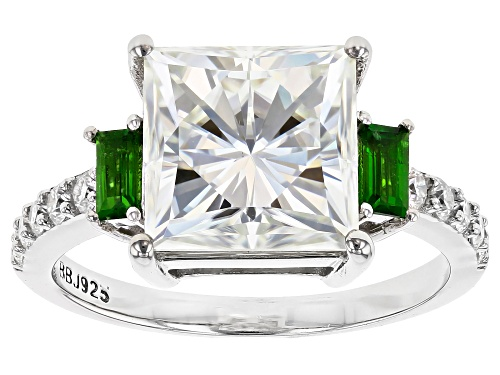 Photo of MOISSANITE FIRE® 4.60CTW DEW AND .25CTW CHROME DIOPSIDE PLATINEVE® RING - Size 8