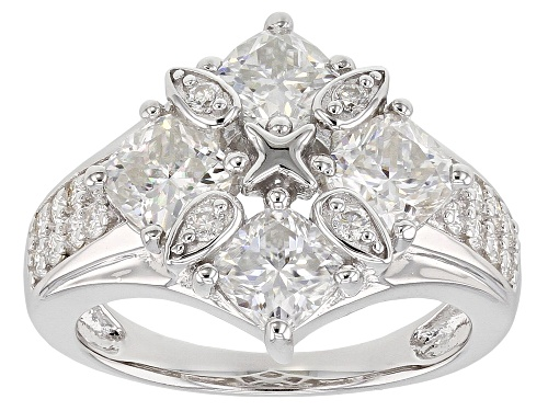 Photo of MOISSANITE FIRE® 2.80CTW DEW CUSHION CUT AND ROUND PLATINEVE® RING - Size 6
