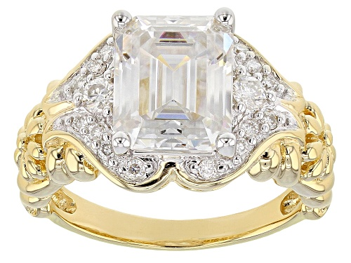 Photo of MOISSANITE FIRE® 3.83CTW DEW EMERALD CUT AND ROUND 14K YELLOW GOLD OVER SILVER RING - Size 8