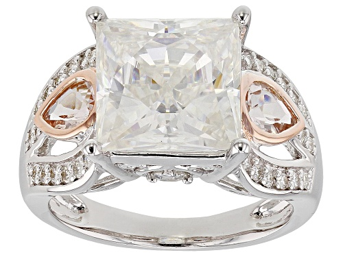 Photo of MOISSANITE FIRE® 6.37CTW DEW AND .46CTW MORGANITE PLATINEVE® AND 14K ROSE GOLD OVER PLATINEVE RING - Size 7