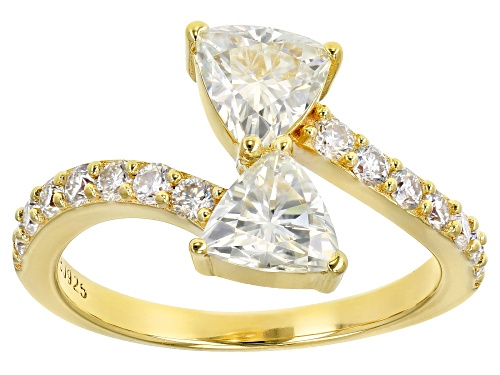 Photo of MOISSANITE FIRE® 1.82CTW DEW 14K YELLOW GOLD OVER STERLING SILVER RING - Size 7