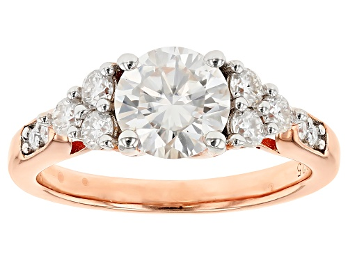MOISSANITE FIRE® 1.64CTW DEW ROUND 14K ROSE GOLD OVER SILVER RING - Size 9