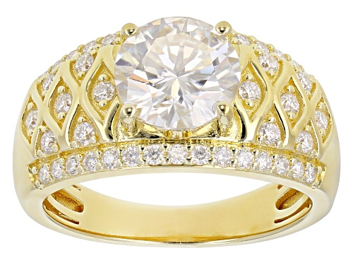 Photo of MOISSANITE FIRE® 2.48CTW DEW ROUND 14K YELLOW GOLD OVER STERLING SILVER RING - Size 5