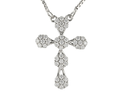 Photo of MOISSANITE FIRE® .42CTW DEW ROUND CROSS PLATINEVE® NECKLACE - Size 18