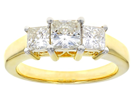 Photo of MOISSANITE FIRE® 1.62CTW DEW SQUARE BRILLIANT 14K YELLOW GOLD OVER SILVER RING - Size 8