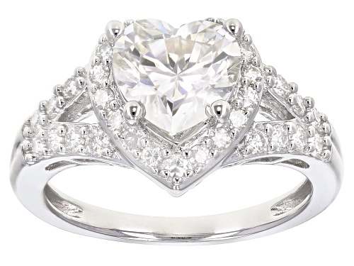 Photo of MOISSANITE FIRE® 2.26CTW DEW HEART SHAPE AND ROUND PLATINEVE® RING - Size 5