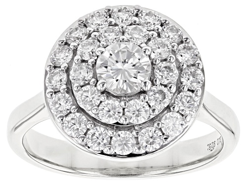 Photo of MOISSANITE FIRE® 1.11CTW DEW ROUND PLATINEVE® RING - Size 11