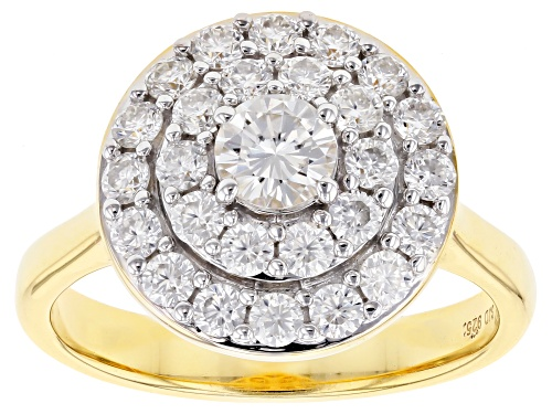 Photo of MOISSANITE FIRE® 1.11CTW DEW ROUND 14K YELLOW GOLD OVER SILVER RING - Size 11