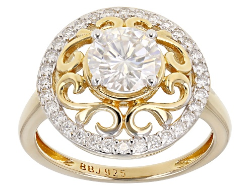 Photo of MOISSANITE FIRE(R) 1.52CTW DEW 14K YELLOW GOLD OVER STERLING SILVER RING - Size 11