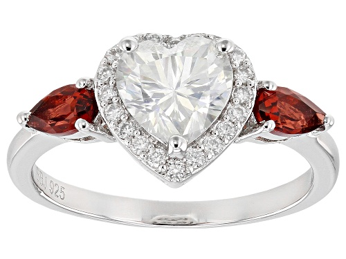 Photo of MOISSANITE FIRE(R) 1.40CTW DEW AND .50CTW RED GARNET PLATINEVE(R) RING - Size 6