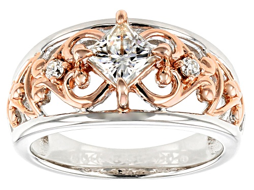 Photo of MOISSANITE FIRE(R) .86CTW DEW PLATINEVE(R) AND 14K ROSE GOLD TWO TONE RING - Size 8