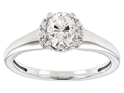 Photo of MOISSANITE FIRE(R) 1.02CTW DEW OVAL AND ROUND PLATINEVE(R) RING - Size 8