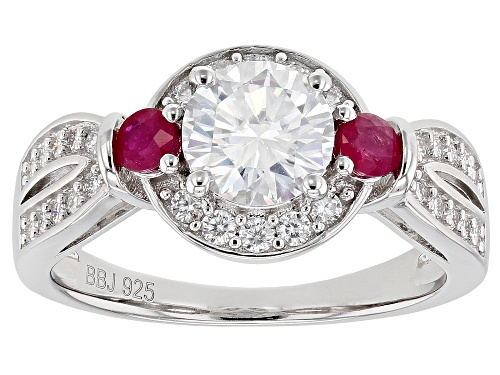 Photo of MOISSANITE FIRE(R) 1.40CTW DEW AND .36CTW BURMESE RUBY PLATINEVE(R) RING - Size 11
