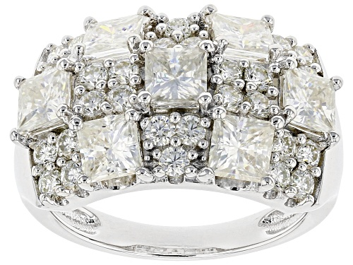 Photo of MOISSANITE FIRE(R) 3.77CTW DEW SQUARE BRILLIANT AND ROUND PLATINEVE(R) RING - Size 8