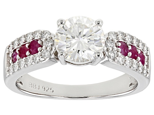Photo of MOISSANITE FIRE(R) 1.46CTW DEW AND .30CTW MOZAMBIQUE RUBY PLATINEVE(R) RING - Size 7